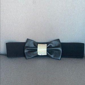Rhinestone Faux Leather Bow Elastic Stretch Belt